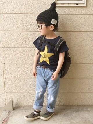 いづ&すぅさんの「星プリント半袖Tシャツ(BRANSHES|ブランシェス)」を使ったコーディネート