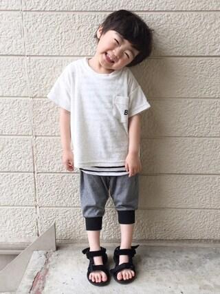 いづ&すぅさんの「パイルビック半袖Tシャツ(BRANSHES|ブランシェス)」を使ったコーディネート