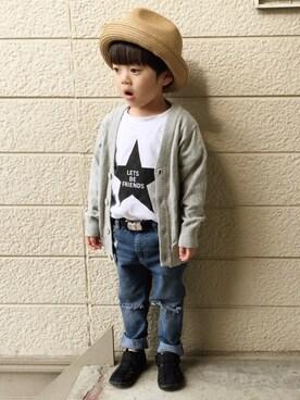 BRANSHES|いづ&すぅさんのTシャツ/カットソー「星プリント半袖Tシャツ(BRANSHES|ブランシェス)」を使ったコーディネート
