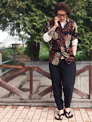 ®️oomさんの「ROBERT J.CLANCEY ロバート・ジェイ・クランシー / ウォッシャブル アロハシャツ(AMERICAN RAG CIE|アメリカンラグ シー)」を使ったコーディネート