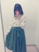 こなこなこさんの「綿麻フレアスカート1001(merlot|メルロー)」を使ったコーディネート