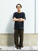 「【FACTOTUM JEANS】オーガニックコットンボートネック(FACTOTUM)」 using this ShikouHiwatashi looks