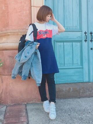 てらさんの「TRI-COLOR DRESS(X-girl|エックスガール)」を使ったコーディネート