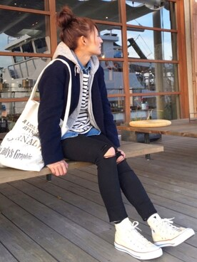 RIEさんの「【CONVERSE】ALLSTAR HIGH CUT SNEAKERS(CONVERSE|コンバース)」を使ったコーディネート