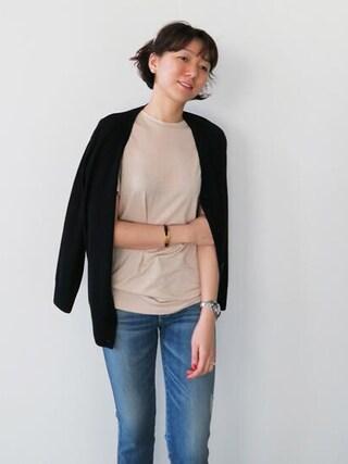 Littleblack|LITTLEBLACKさんの「ソフトタッチベーシックロング半袖Tシャツ(littleblack|リトルブラック)」を使ったコーディネート
