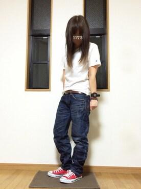 1173yuuさんの「Championポケット付きTシャツ(Champion)」を使ったコーディネート