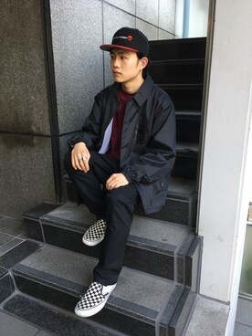 DOUBLE STEAL harajuku|Kaiさんの「Simple Stick DOU B.B CAP(DOUBLE STEAL)」を使ったコーディネート