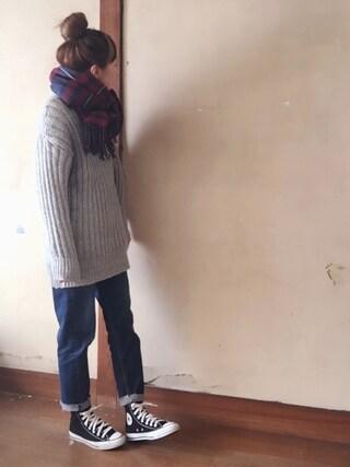 はなこ**さんの「【mina 1月号掲載】ざっくり編みモックネックボリューム袖ニットチュニック(ANDJ|アンドジェイ)」を使ったコーディネート