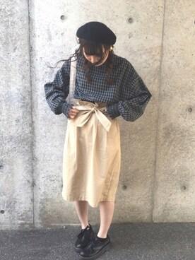 まるさんの「ウエストリボンタイトスカート(w closet|ダブルクローゼット)」を使ったコーディネート