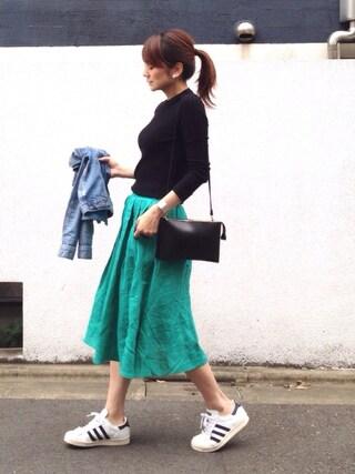LUMIEさんの「【STORY(ストーリィ)掲載】  【CanCam 4月号掲載】 リネン フレアカラースカート フレアスカート ロング丈 ロングスカート(MODE ROBE|モードローブ)」を使ったコーディネート
