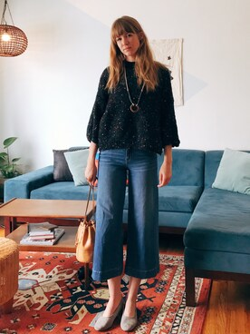 「Madewell Wide Leg Crop Jeans(Madewell)」 using this EliseApffel looks