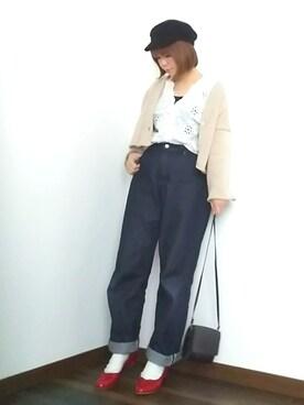 yakkoさんの「DOORS ローゲージショートカーディガン(URBAN RESEARCH DOORS WOMENS)」を使ったコーディネート