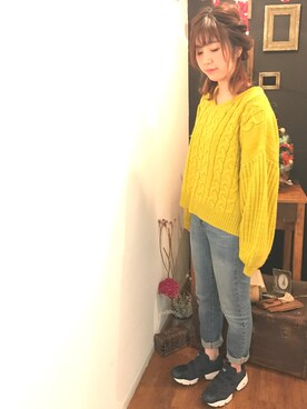Sachi さんの「袖バルーンケーブルプルオーバー(Kastane)」を使ったコーディネート