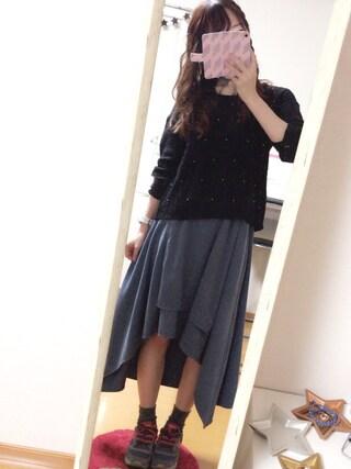 hanaさんの「スウェードイレギュラーヘムラップスカート(Ray Cassin|レイカズン)」を使ったコーディネート