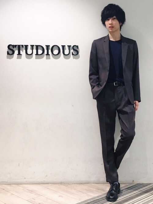 STUDIOUS MENS ルミネエスト新宿店みっきーさんのテーラードジャケット「STA-PREST POLYESTER TWILL / ROLLING DOWN 3B NOTCHED LAPEL JACKET(MR.OLIVE|ミスターオリーブ)」を使ったコーディネート