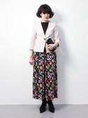 ハマアイさんの「(七分袖)Vネック ノーカラーライトジャケット(TRUDEA|トルディア)」を使ったコーディネート