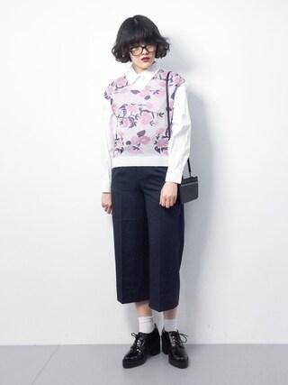 ZOZOTOWN ハマアイさんの「タイプライター2wayビッグシャツ(le.coeur blanc ルクールブラン)」を使ったコーディネート