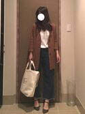 エーコさんの「WOMEN リブクルーネックT(半袖)(ユニクロ|ユニクロ)」を使ったコーディネート