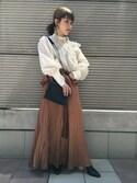 ユウキさんの「■別注■muller of yoshiokubo×MIDWEST ギャザーブラウス(muller of yoshiokubo|ミュラー オブ ヨシオクボ)」を使ったコーディネート