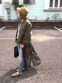 me☆さんの「フェイクレザーフラットカバーパンプス(titivate|ティティベイト)」を使ったコーディネート