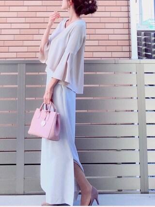 「【CLASSY.コラボ】ベルスリーブブラウスxスリットタイトスカートSET(TONAL)」 using this honon looks