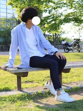 けんたさんの「BY ロング クルーネック Tシャツ -MADE IN JAPAN-(BEAUTY&YOUTH UNITED ARROWS|ビューティアンドユースユナイテッドアローズ)」を使ったコーディネート