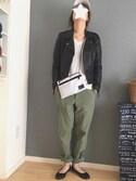 karashiさんの「≪予約≫ムラ糸バックサテンベイカーパンツ 追加◆(FRAMeWORK|フレームワーク)」を使ったコーディネート