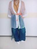 Rinさんの「スリットタックデニムワイドパンツ(MURUA|ムルーア)」を使ったコーディネート