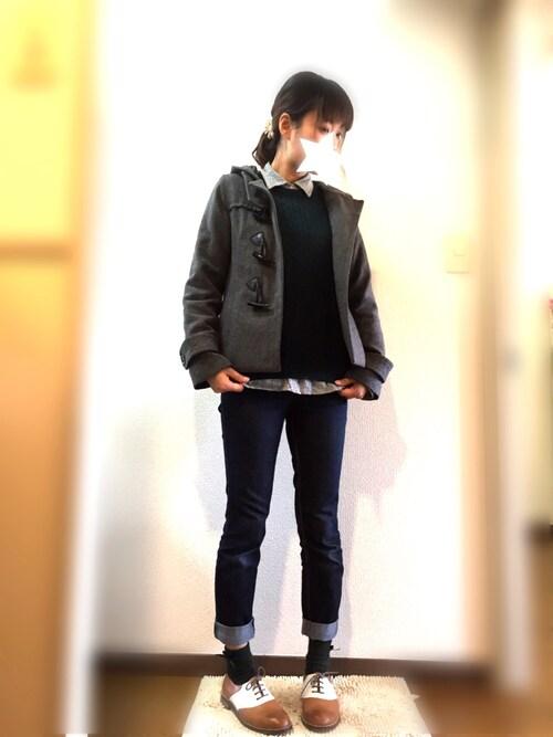 ななこさんの「WOMEN コットンカシミヤケーブルセーター(長袖)(ユニクロ)」を使ったコーディネート