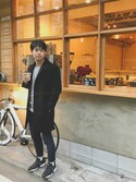 yu-ki.さんの「KURO クロ / SUPER100'メルトンウールステンカラーコート(KURO|ユニクロ)」を使ったコーディネート