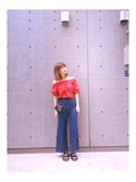 「VOLUME/S OFFSHOULDER TOPS/F(MOUSSY)」 using this i_am_akarichan  looks