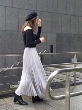 Ungrid福岡パルコ店|庄司 未菜美さんの「シフォンプリーツマキシスカート(Ungrid)」を使ったコーディネート
