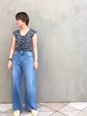 Kaori Shimomuraさんの「BY カットオフワイドデニム(BEAUTY&YOUTH UNITED ARROWS|ビューティアンドユースユナイテッドアローズ)」を使ったコーディネート
