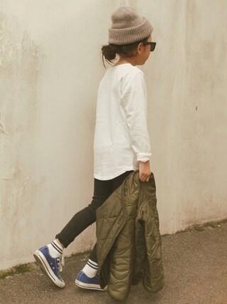 micooさんの「裾ラウンドロング丈長袖Tシャツ ロンT カットソー(devirock|デビロック)」を使ったコーディネート