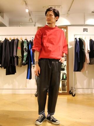 Lui's 池袋店|downeyさんの「【WEB限定】 モックネック ビッグTシャツ(Lui's|ルイス)」を使ったコーディネート