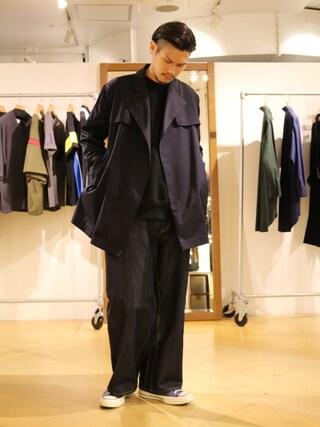 Lui's 池袋店|downeyさんの「ぬき襟ラップコート(Lui's|ルイス)」を使ったコーディネート