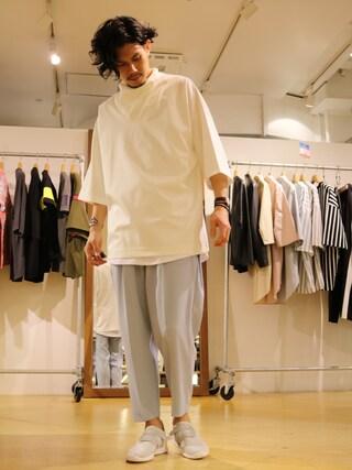 「5分袖ドレープモックネックTシャツ(Lui's)」 using this Lui's 池袋店|downey looks