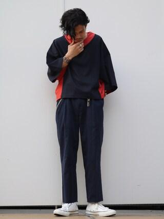 「切替デザイン モモンガTシャツ(Lui's)」 using this Lui's 池袋店|downey looks