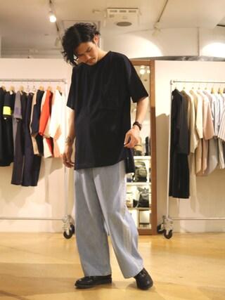 「スリットビックTシャツ(Lui's)」 using this Lui's 池袋店|downey looks