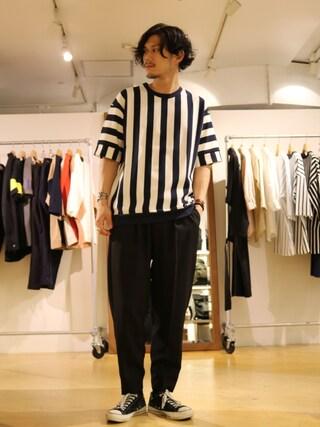「ストライプポンチTシャツ(Lui's)」 using this Lui's 池袋店|downey looks