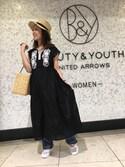 Mizuki Nakanoさんの「<ne Quittez pas>∴エンブロイダリーノースリーブドレス/刺繍(BEAUTY&YOUTH UNITED ARROWS|ビューティアンドユースユナイテッドアローズ)」を使ったコーディネート