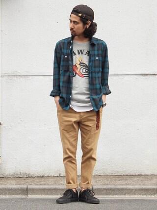 アッキーさんの「Revo. オンブレ チェックシャツ(Revo.|レボ)」を使ったコーディネート