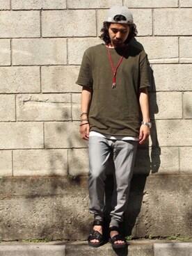 アッキーさんの「Revo. スラブ天竺 ルーズシルエット 5分袖 カットオフTシャツ(Revo.|レボ)」を使ったコーディネート