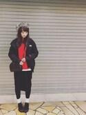hitomiさんの「◇NEW ERA / ニューエラ WASHED DUCK THE TRAPPER(NEW ERA|ジーユー)」を使ったコーディネート