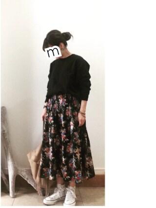 ru_nuunさんの「フラワープリントスカート/708550(GLOBAL WORK|グローバルワーク)」を使ったコーディネート
