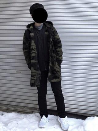 「MEN ソフトタッチハイネックT(長袖)(ユニクロ)」 using this 🐡 looks