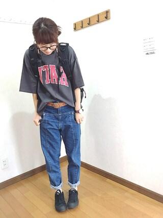 あゆさんの「綿アソートロゴTシャツ【niko and ...】(niko and... ニコアンド)」を使ったコーディネート