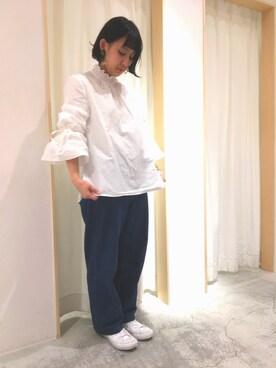 Dot&StripesCHILD WOMAN.atelier|norikoさんの「60/-タイプライター      シャーリングフレアー袖ブラウス(Dot&Stripes CHILD WOMAN)」を使ったコーディネート