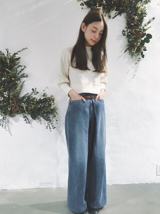 「WASHED WIDE JEANS(JOHN LAWRENCE SULLIVAN)」 using this 阿久津ゆりえ looks