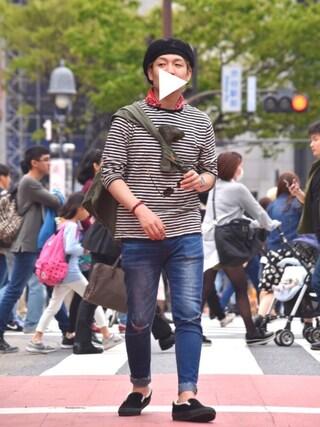 m i c h u 🍖さんの「ストライプド コットン ジャージー Tシャツ(DENIM & SUPPLY|デニム&サプライ)」を使ったコーディネート